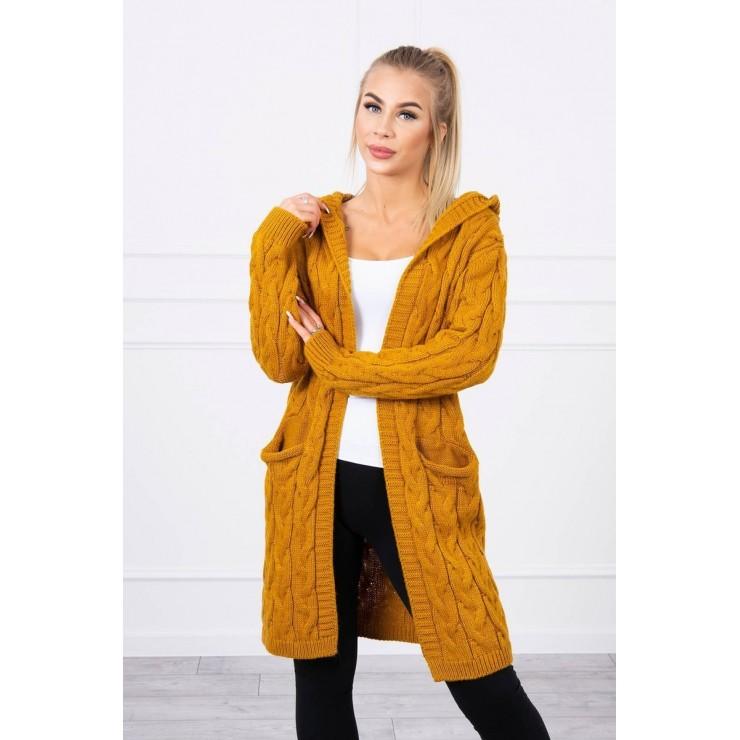 Dámsky sveter s kapucňou a vreckami MI2019-24 okrový