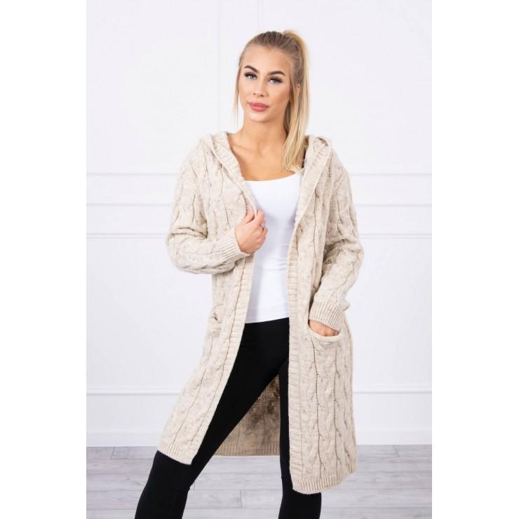 Dámsky sveter s kapucňou a vreckami MI2019-24 svetlobéžový