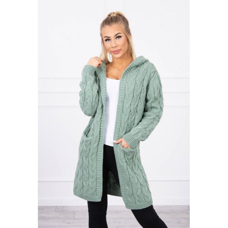 Dámsky sveter s kapucňou a vreckami MI2019-24 tmavá mäta