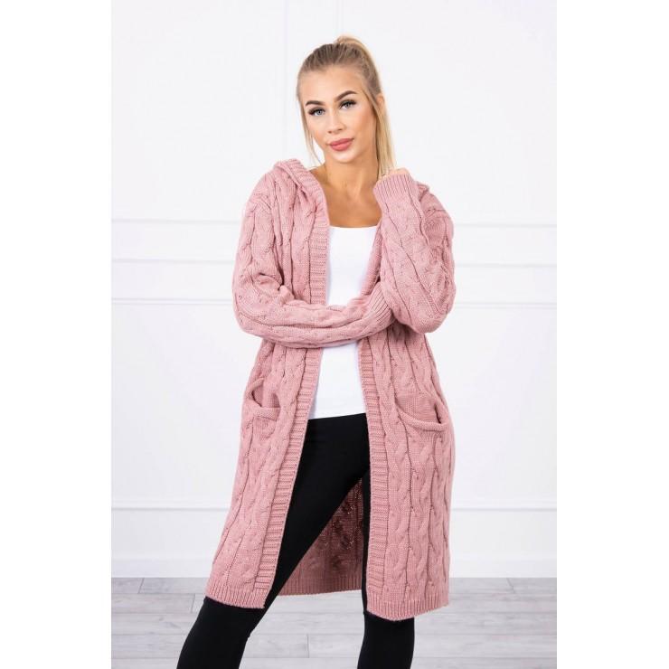 Dámsky sveter s kapucňou a vreckami MI2019-24 tmavo pudrovo ružový