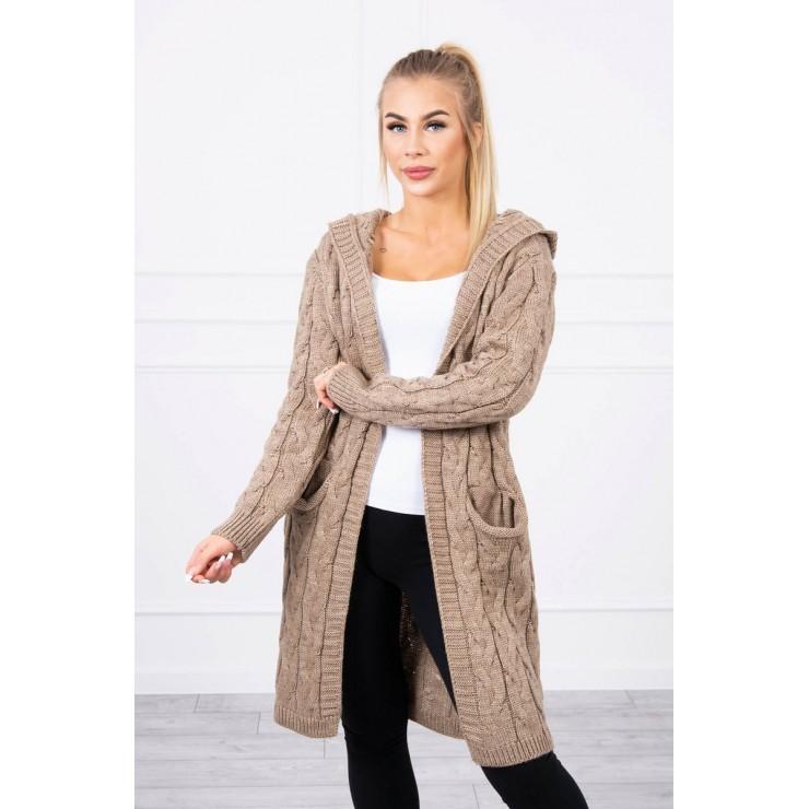 Dámsky sveter s kapucňou a vreckami MI2019-24 tmavobéžový