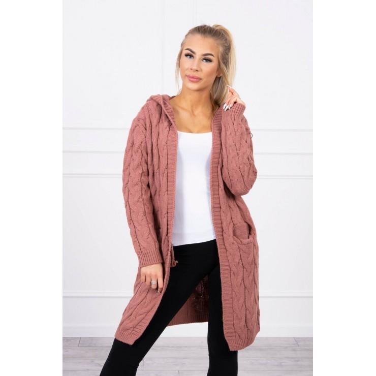 Dámsky sveter s kapucňou a vreckami MI2019-24 tmavoružový