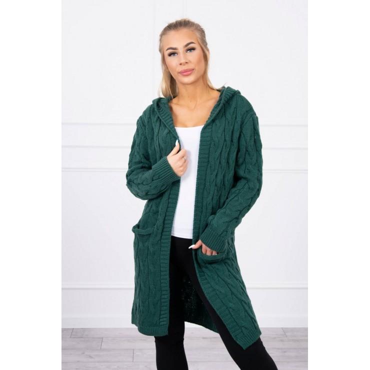 Dámsky sveter s kapucňou a vreckami MI2019-24 zelený