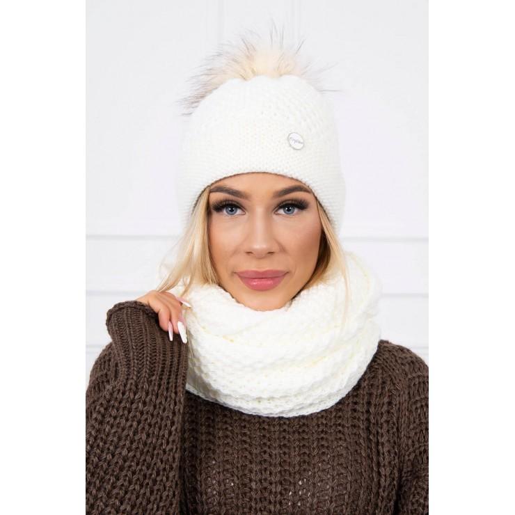 Women's Winter Set hat and scarf  MIK125 cream