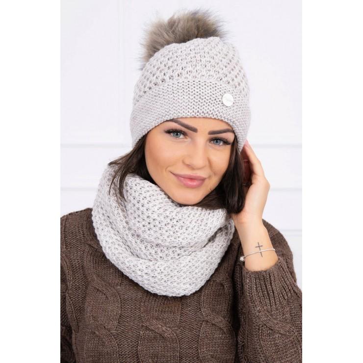 Women's Winter Set hat and scarf  MIK125 light beige