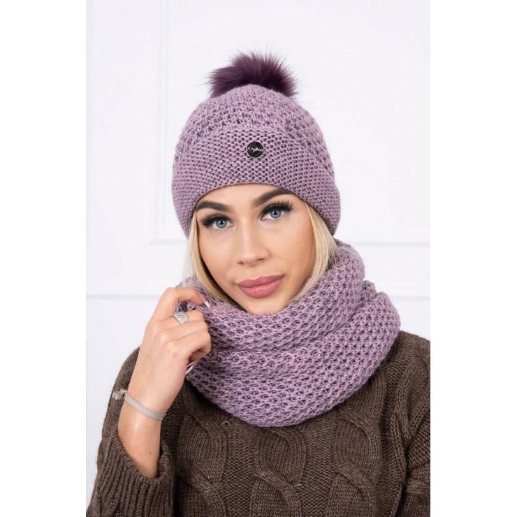 Women's Winter Set hat and scarf  MIK125 light purple