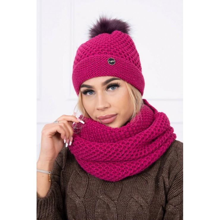 Women's Winter Set hat and scarf  MIK125 dark purple