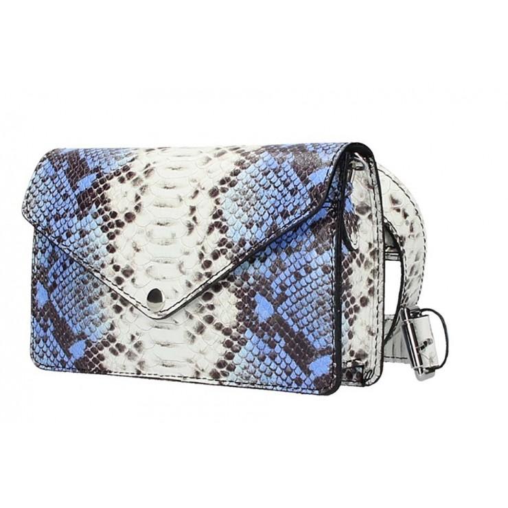 Azurovo modrá kožená kabelka na rameno/na opasok 1002 Made in Italy