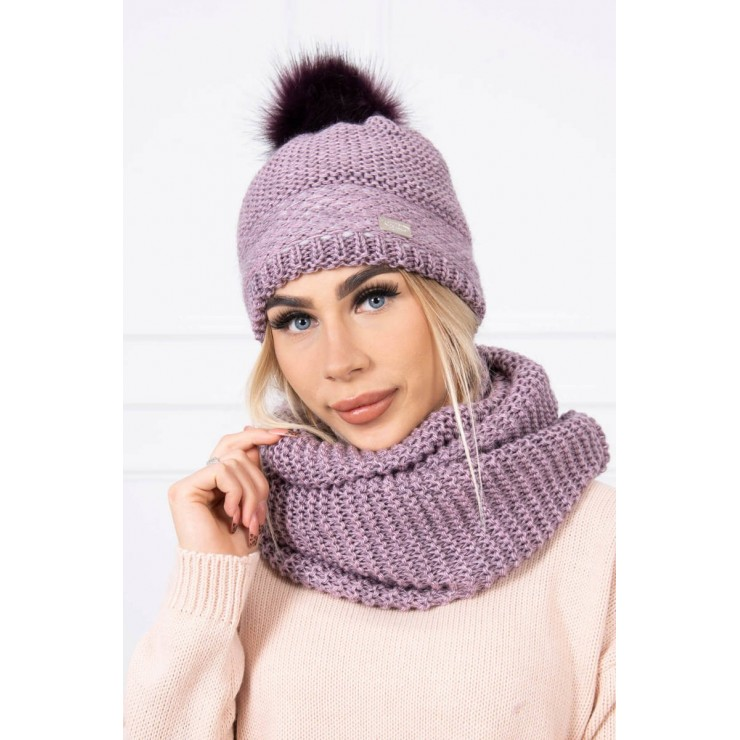 Women's Winter Set hat and scarf  MIK126 light purple