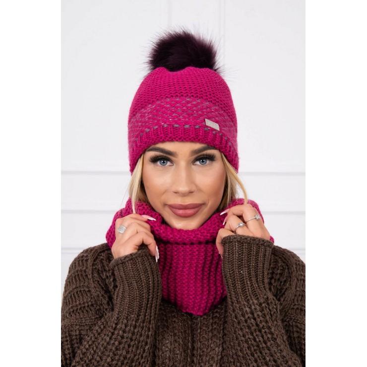 Women's Winter Set hat and scarf  MIK126 dark purple