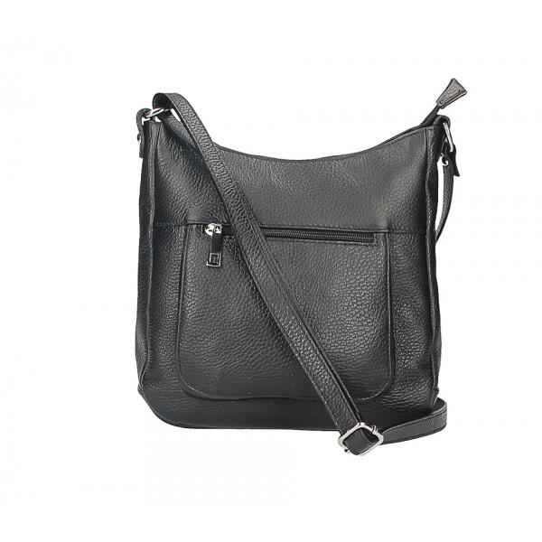 Kožená kabelka na rameno 1489 čierna