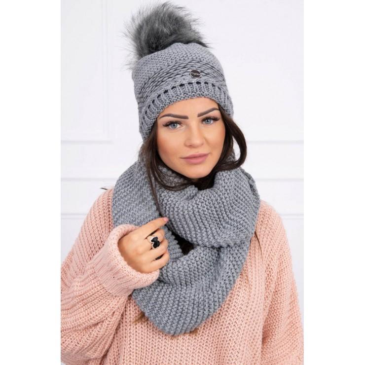Women's Winter Set hat and scarf  MIK126 dark gray