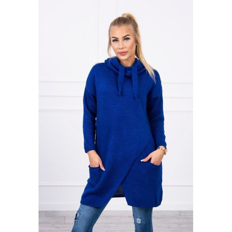 Dámsky sveter s prekladanou prednou časťou MI2019-6 azúrovo modrý