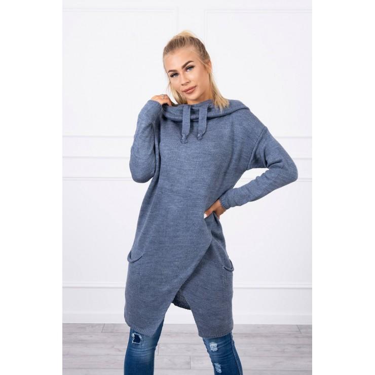 Dámsky sveter s prekladanou prednou časťou MI2019-6 svetlý jeans