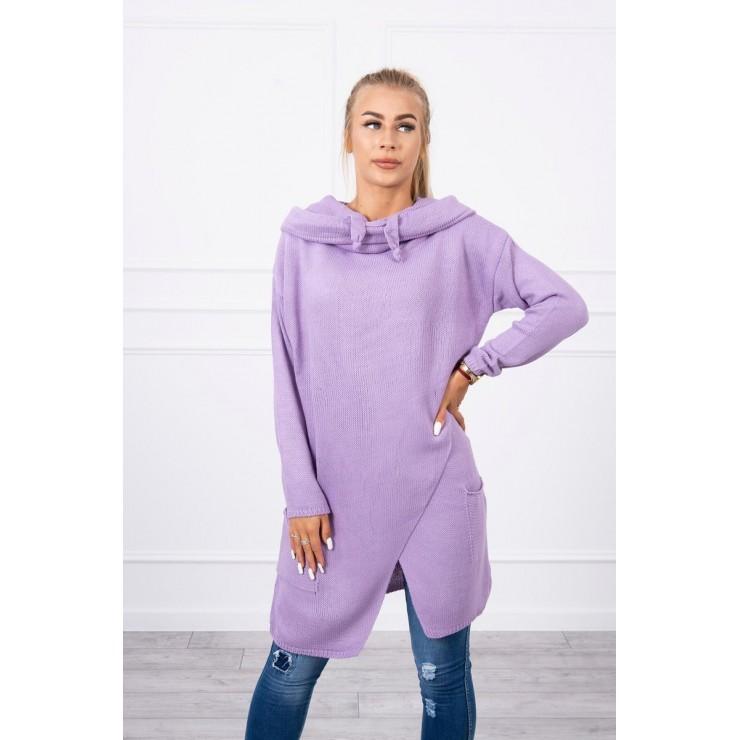 Dámsky sveter s prekladanou prednou časťou MI2019-6 tmavofialový