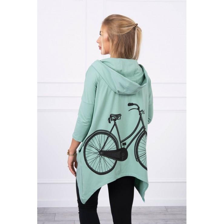 Women's sweatshirt with print of bicycle MI9139 dark mint
