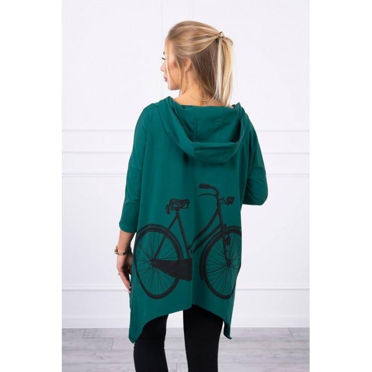 Women's sweatshirt with print of bicycle MI9139 green