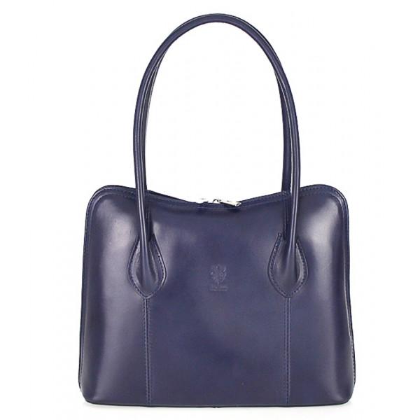 Dámska kožená kabelka 672 modrá