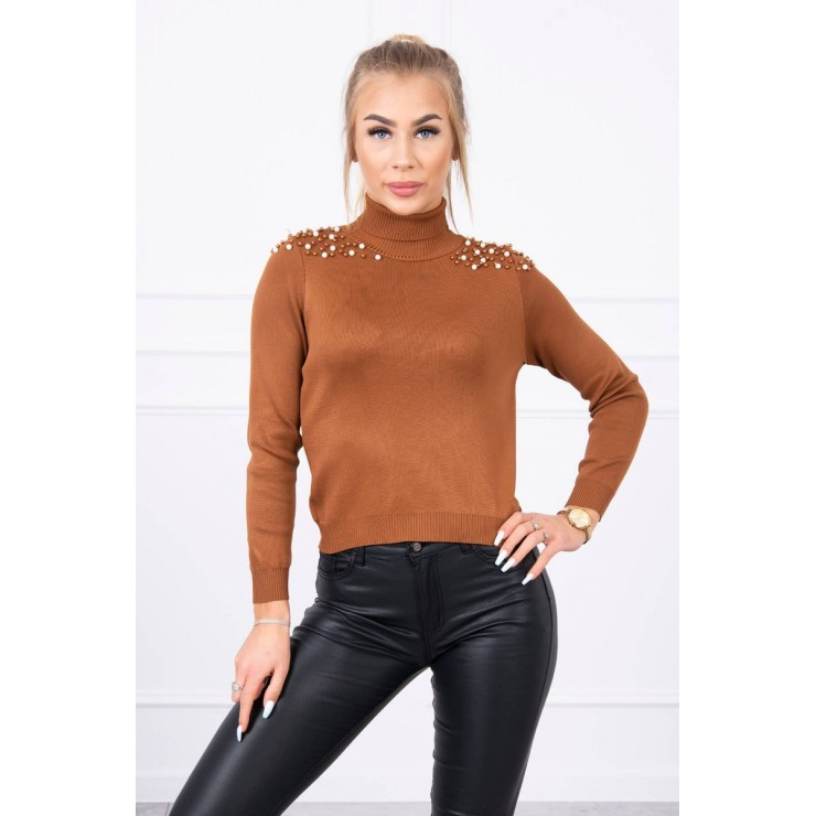Women's thin turtleneck with beads MI20605 camel