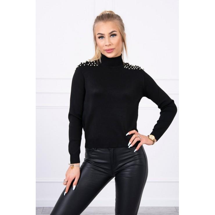 Women's thin turtleneck with beads MI20605 black