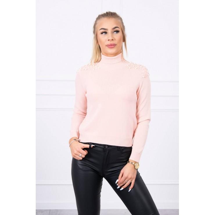 Women's thin turtleneck with beads MI20605 powder pink