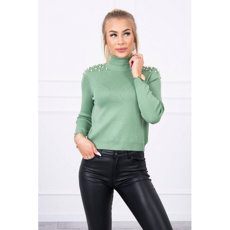 Women's thin turtleneck with beads MI20605 dark mint