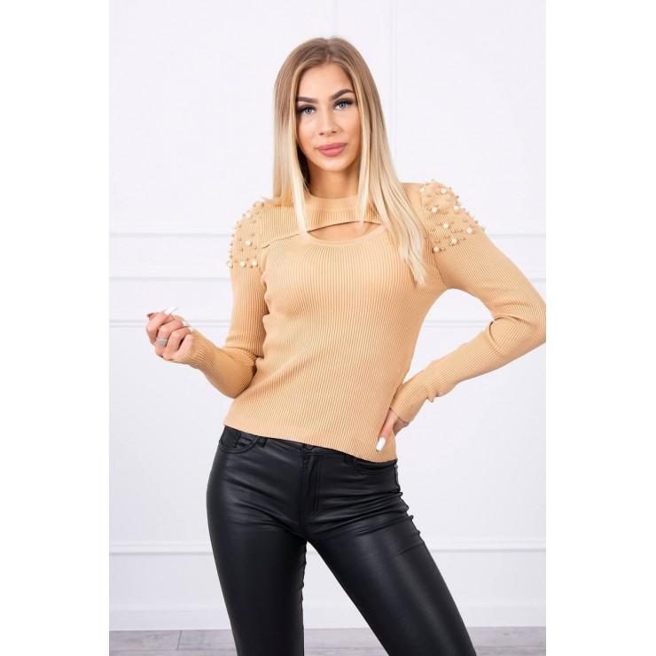 Women's sweater with beads MI20624 beige