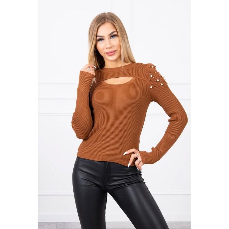 Dámsky svetrík s perličkami MI20624 camel