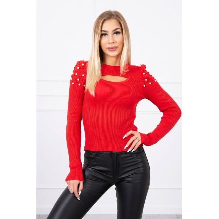 Dámsky svetrík s perličkami MI20624 červený