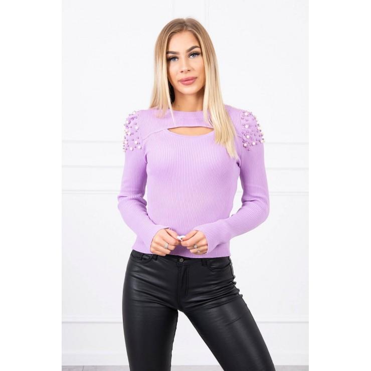 Dámsky svetrík s perličkami MI20624 fialový