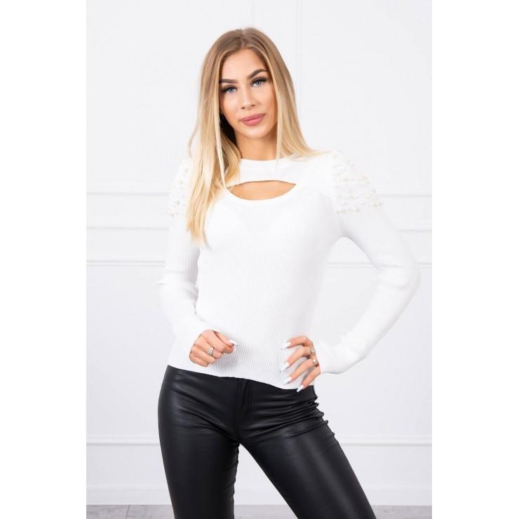Women's sweater with beads MI20624 cream