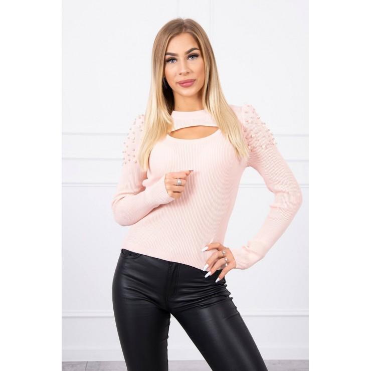 Dámsky svetrík s perličkami MI20624 pudrovo ružový