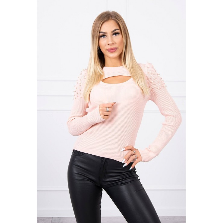 Women's sweater with beads MI20624 powder pink