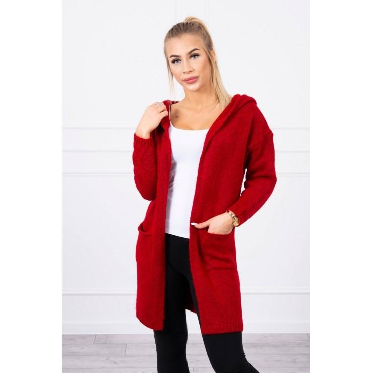 Dámsky sveter s kapucňou MI2020-10 bordový
