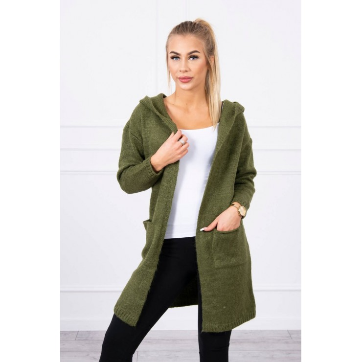 Dámsky sveter s kapucňou MI2020-10 khaki