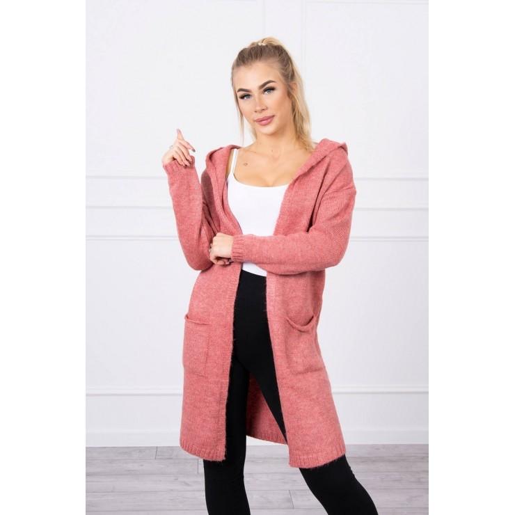 Dámsky sveter s kapucňou MI2020-10 svetloružový