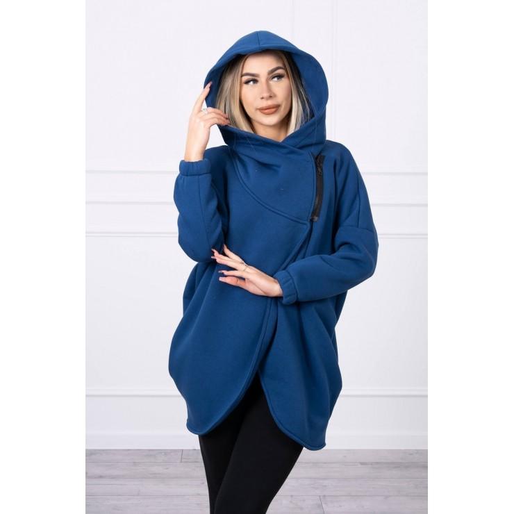 Women's sweatshirt with short zipper MI9110 dark blue