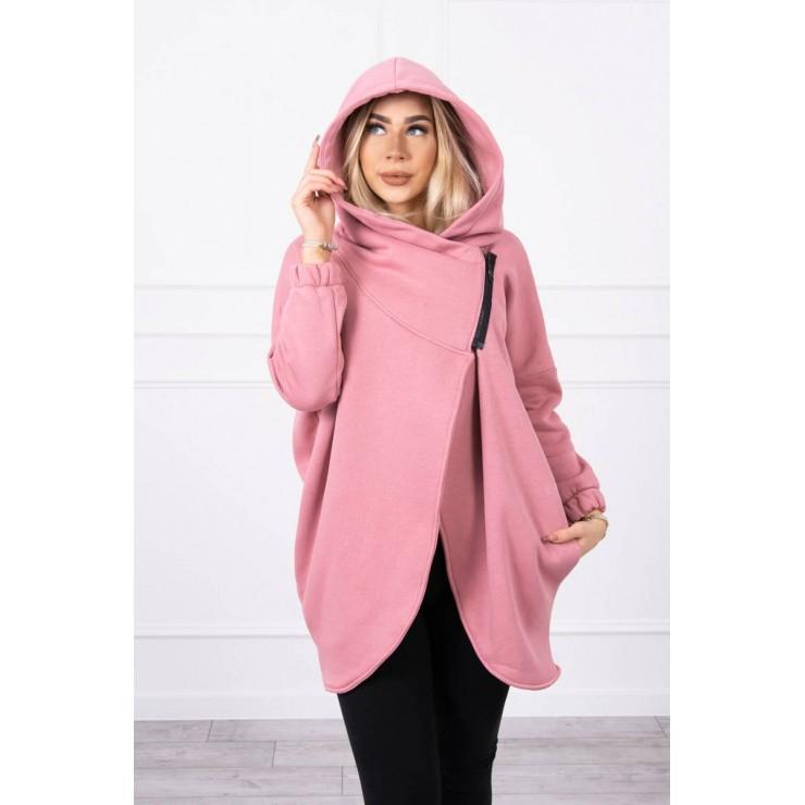Women's sweatshirt with short zipper MI9110 light pink