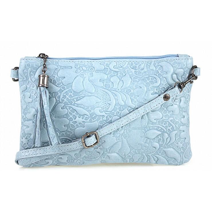 Kožená kabelka potlač kvetov 51 nebesky modrá