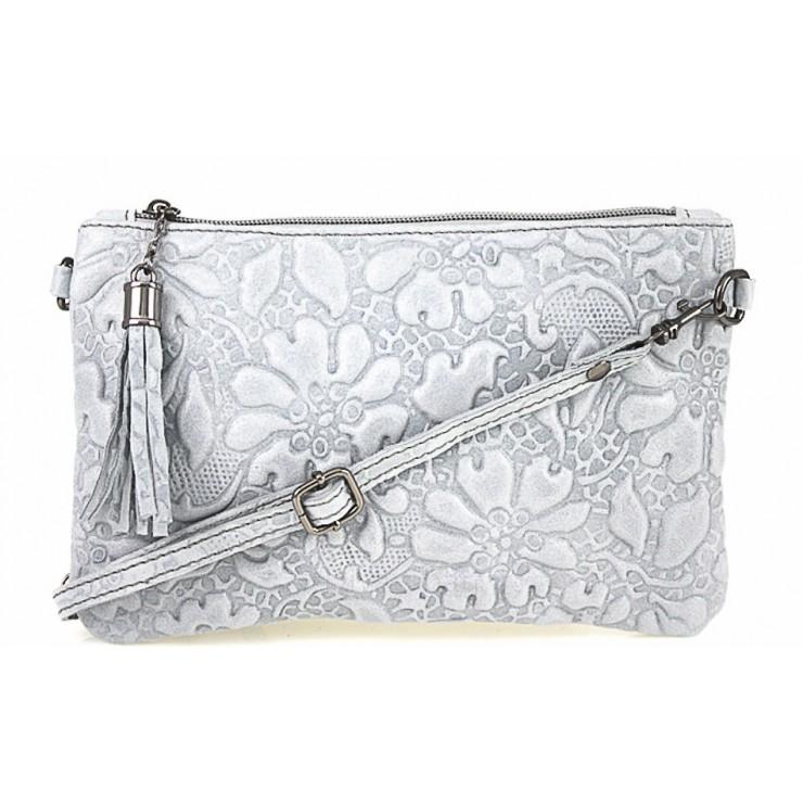 Kožená kabelka potlač kvetov 51 šedá