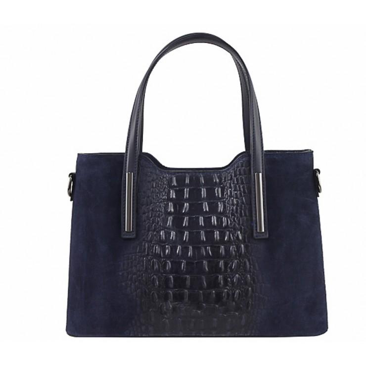 Genuine Leather Handbag 1452 dark blue