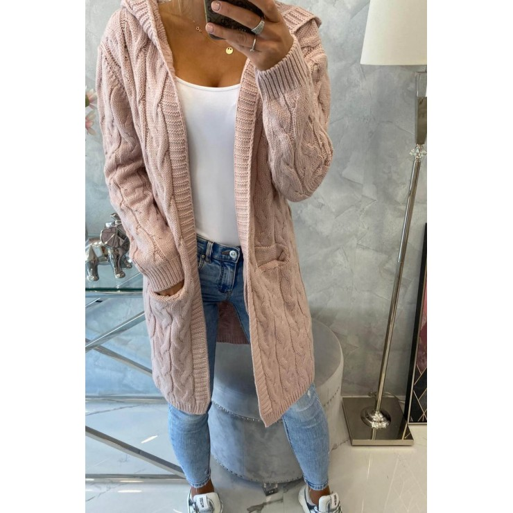 Dámsky sveter s kapucňou a vreckami MI2019-24 pudrovo ružový