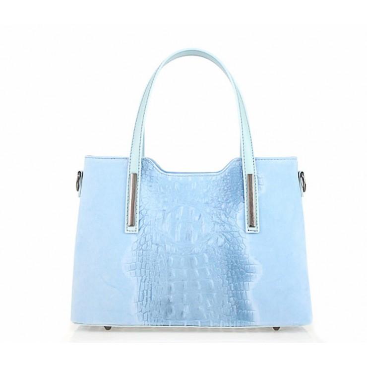 Kožená kabelka potlač krokodíl 1452 nebesky modrá