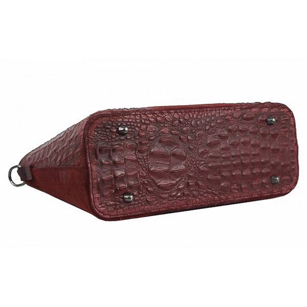 Kožená kabelka potlač krokodíl 1452 fuchsia