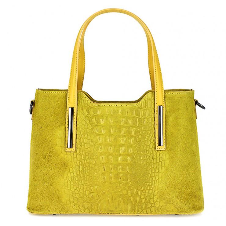 Kožená kabelka potlač krokodíl 1452 žltá