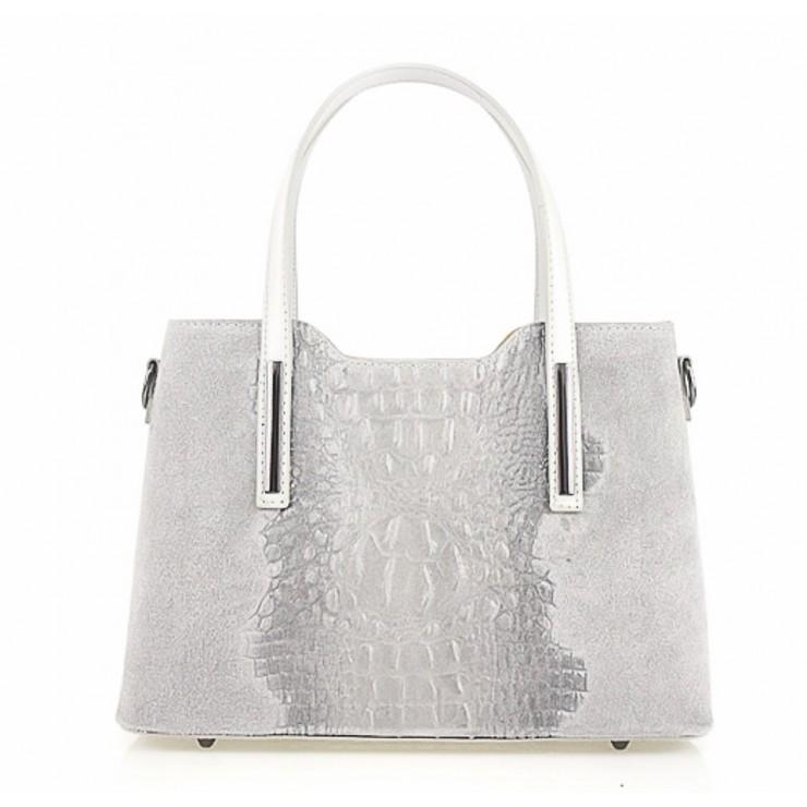 Kožená kabelka potlač krokodíl 1452 šedá