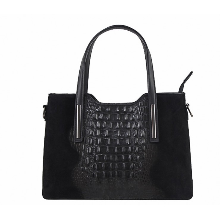 Kožená kabelka potlač krokodíl 1452 čierna