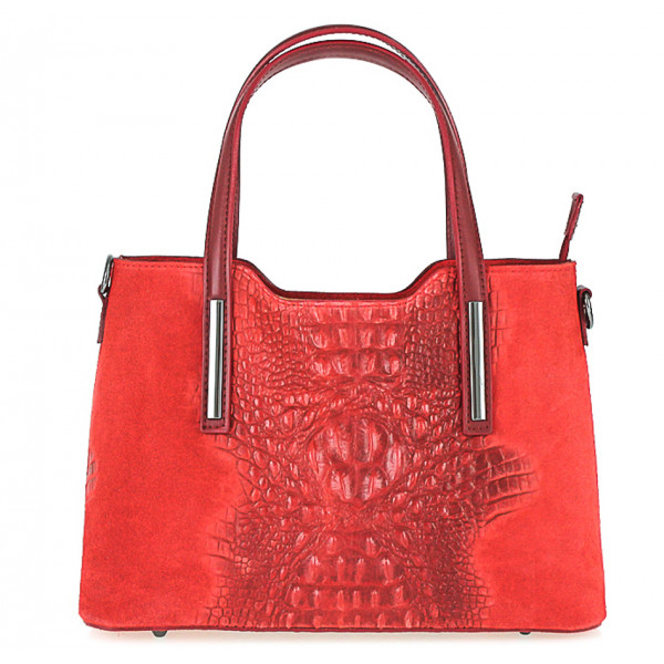 Kožená kabelka potlač krokodíl 1452 červená
