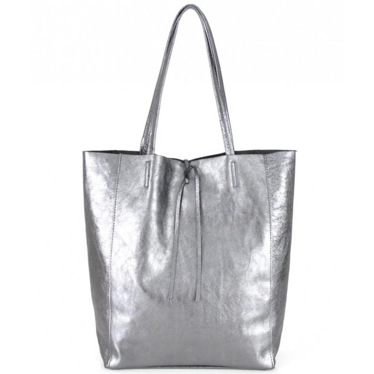 Kožená shopper kabelka 396 stříbrná