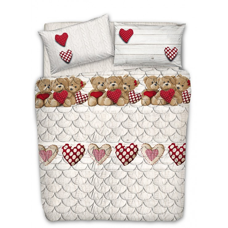 Prešívaný bavlnený prehoz na posteľ Medvedík červený Made in Italy